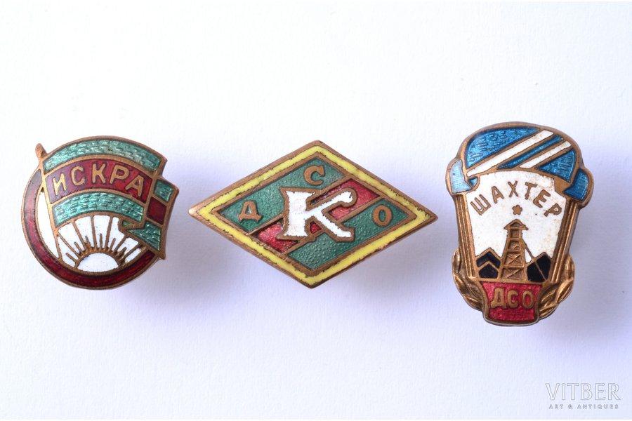 """badge, Voluntary sports societies """"Iskra"""", """"Šahtjor"""", """"K"""", USSR"""