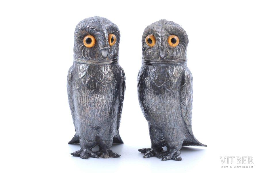 "set of salt-cellars, ""Owls"", silver plated, metal, h 10.2 cm"