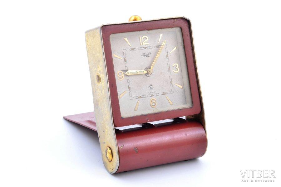 "travel clock, ""Jaeger"", Switzerland, 8.5 x 5.7 x 2.3 cm"