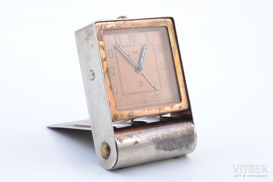 "travel clock, ""Jaeger"", Switzerland, 8.5 x 5.7 x 2.1 cm"
