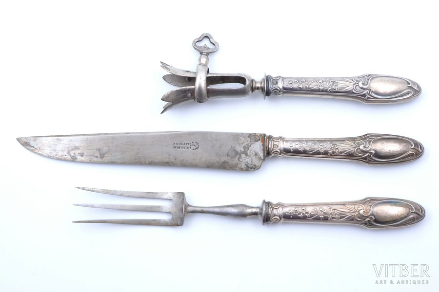 meat carving set of 3 items, silver/metal, 800 standart, France, 32.5 - 20.8 cm