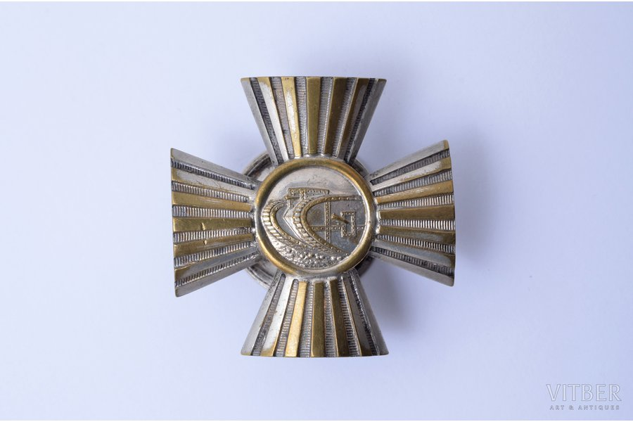 badge, Auto-tank Regiment (1st type), bronze, silver plate, Latvia, 20ies of 20th cent., 46.7 x 47.1 mm