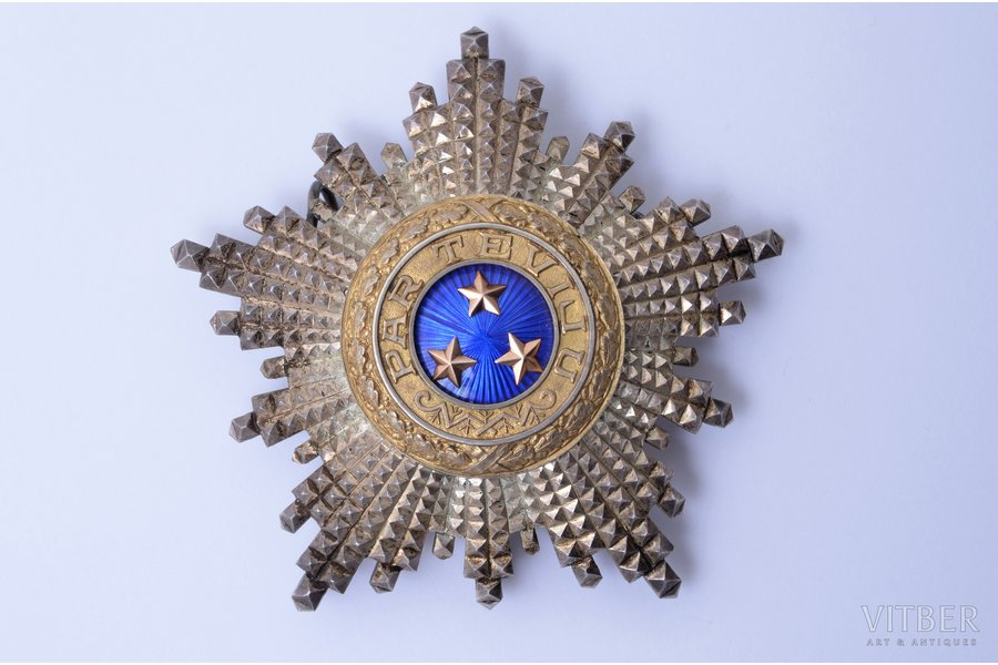 "star of the Order of Three Stars (3rd type), silver, 875 standart, Latvia, 20-30ies of 20th cent., 74.5 x 77.9 mm, ""Vilhelms Fridrichs Müller"" manufactory"