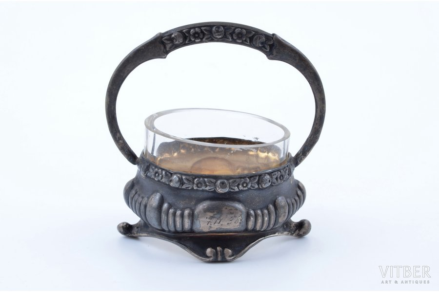 saltcellar, silver, 875 standart, gilding, with glass insert, the 20-30ties of 20th cent., silver weight 22.7g, by Ludwig Rosenthal, Latvia, h 6.8 cm
