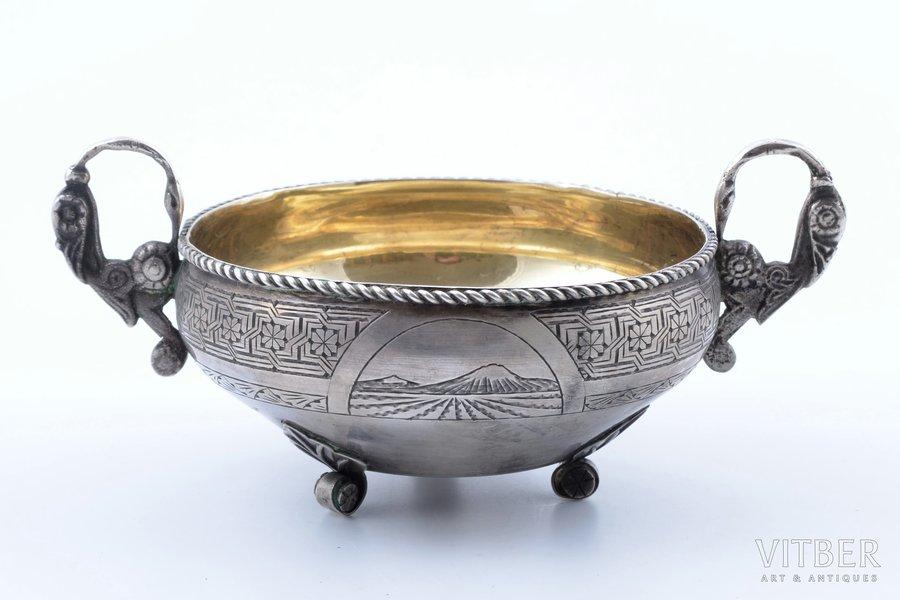 candy-bowl, silver, 875 standart, engraving, gilding, 1962, 170.4 g, Yerevan Jewelry Factory, Yerevan, USSR, h 5.3 cm