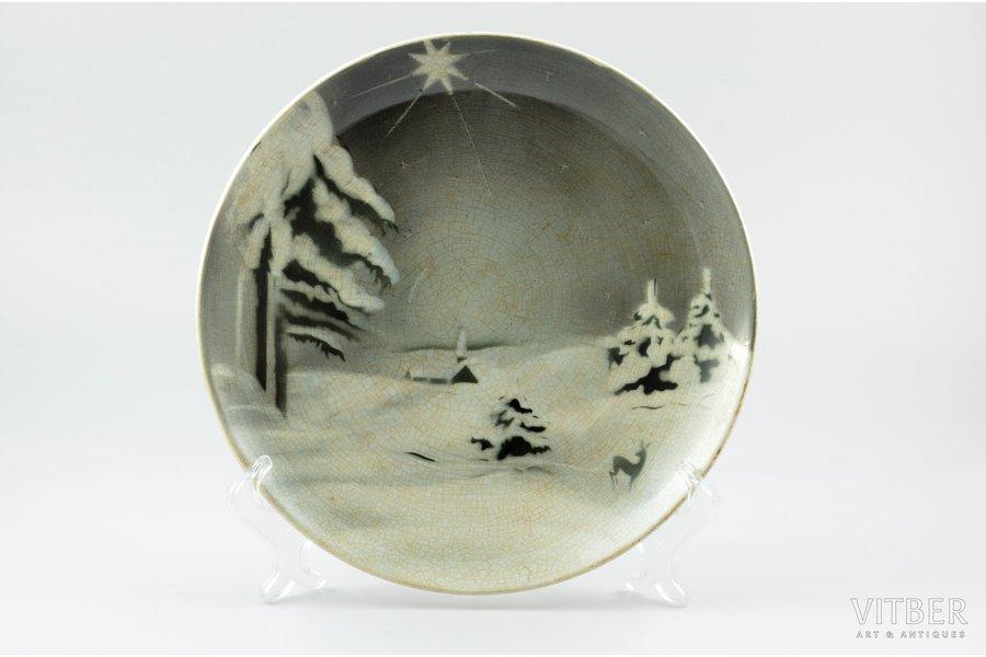 wall plate, Winter, porcelain, J.K. Jessen manufactory, Riga (Latvia), the 30ties of 20th cent., Ø 24.9 cm