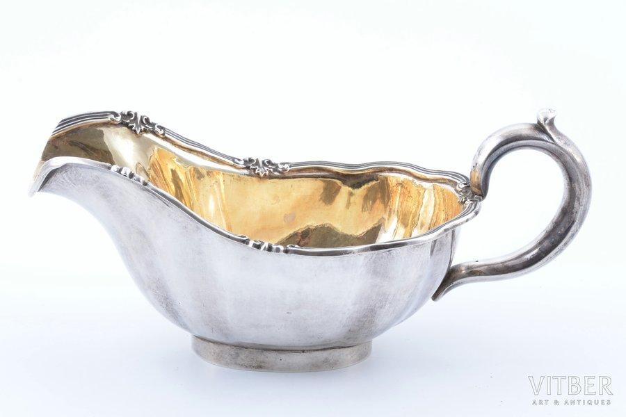 sauce-boat, silver, 84 standart, gilding, 1849, 345.70 g, Nichols & Plinke, St. Petersburg, Russia, 9.2 x 23 x 11 cm