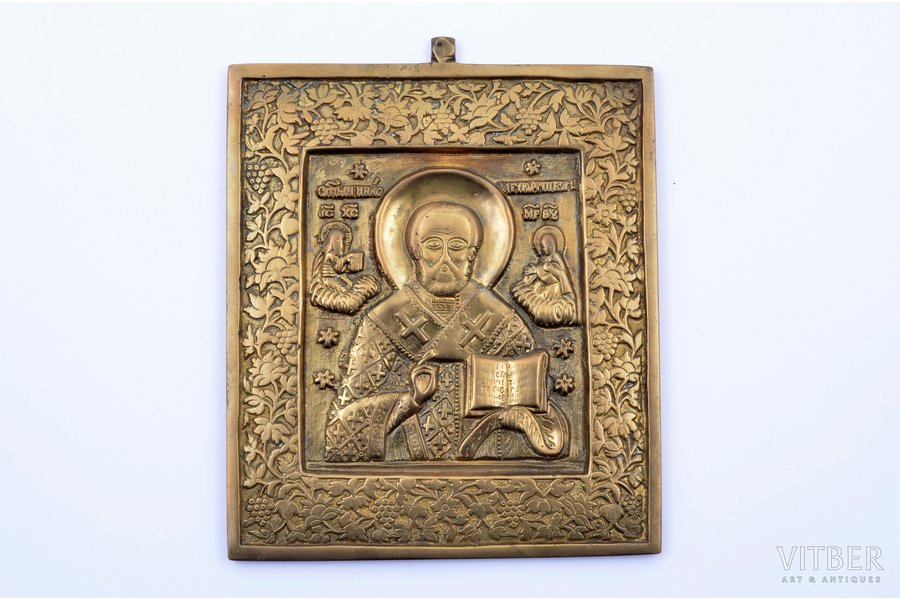 icon, Saint Nicholas the Wonderworker, copper alloy, Russia, the border of the 19th and the 20th centuries, 12.1 x 10 x 0.4 cm, 319.75 g.