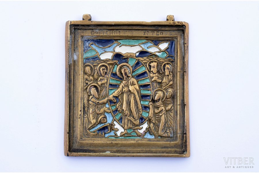 icon, The Resurrection of Christ. Descent into Hades, copper alloy, 4-color enamel, Russia, the border of the 19th and the 20th centuries, 6.1 x 5.3 x 0.4 cm, 58.85 g.