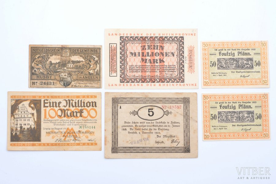 a set, banknote, 6 pcs., city magistrates, Germany, the beginning of 1920-ties