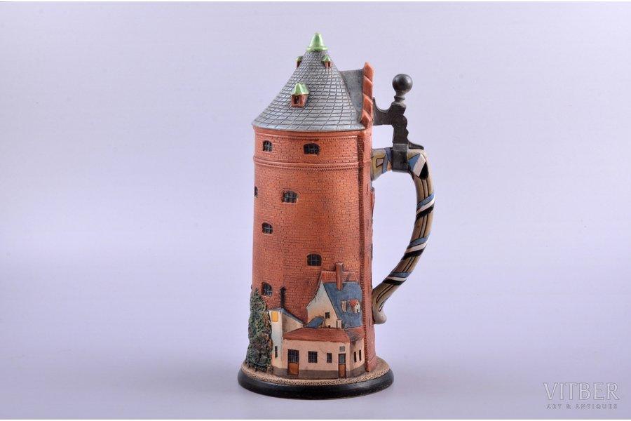 "beer mug, Pulvertornis, student corporation ""Rubonia"", majolica, Riga (Latvia), h 24 cm, with a crack"