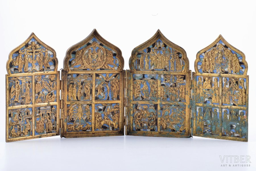 icon with foldable side flaps, Great Feasts, copper alloy, 4-color enamel, Russia, the border of the 19th and the 20th centuries, 17.1 x 40.1 x 0.9 cm, 1169.30 g.