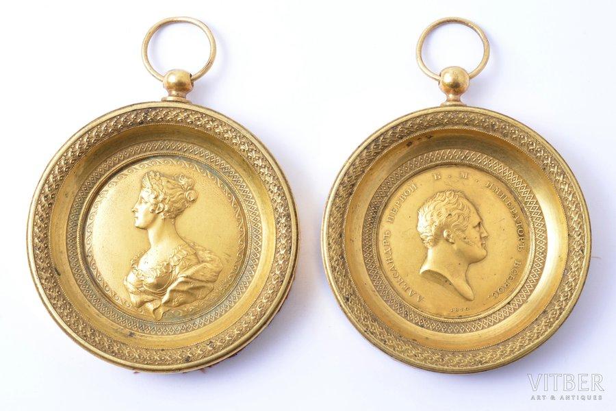framed bas-relief, Alexander I and Elizabeth Alexeievna, Russia, 94 x 81.5 mm