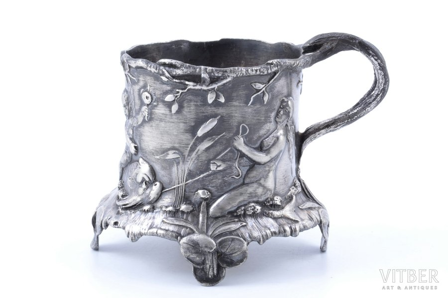 tea glass-holder, Art-Nouveau, WMF, silver plated, Germany, 1880-1918, h 8.5 cm, Ø (inside) 6.35 cm