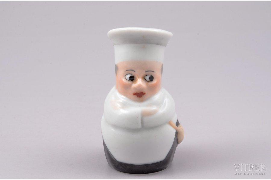 "figurine, salt cellar ""Cook"", porcelain, Riga (Latvia), M.S. Kuznetsov manufactory, 6.5 cm, first grade"