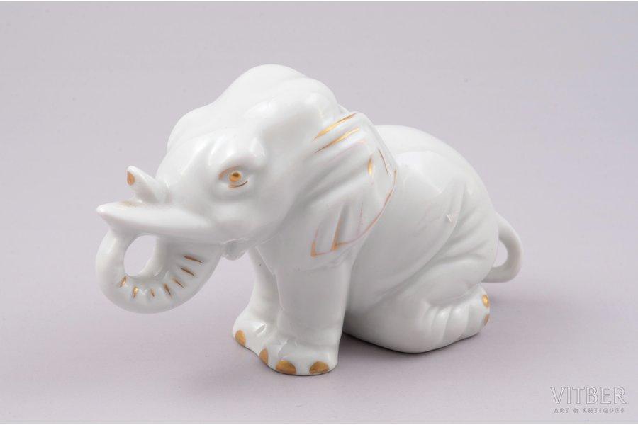 figurine, Little elephant, porcelain, Riga (Latvia), M.S. Kuznetsov manufactory, 1937-1940, 6.8 cm, first grade