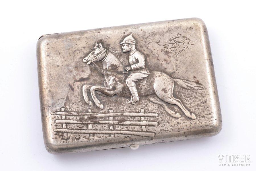 "cigarette case, silver, 875 standart, ""Red Army soldier on horseback"", 1927-1954, 137.95 g, ХАТОРГОДЕСА, Kharkov, USSR, 7.5 x 10.6 x 1.5 cm"
