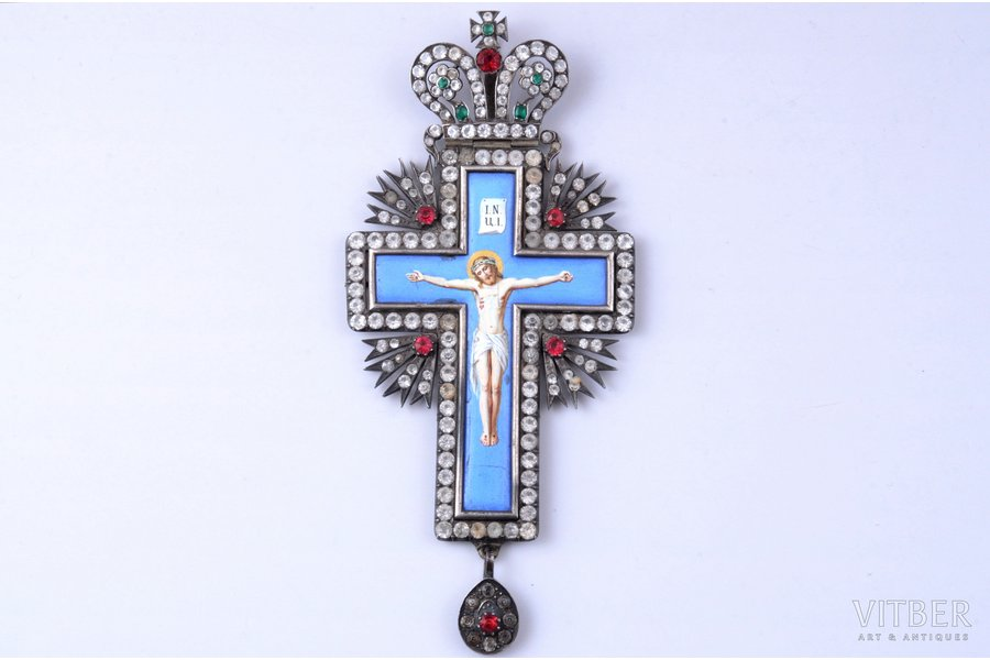 рectoral cross, The Crucifixion of Christ, silver, painted enamel, Russia, the border of the 19th and the 20th centuries, 14.8 x 6.7 cm, 84.15 g.