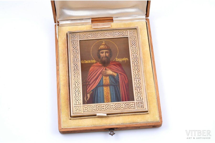 icon, Saint Vladimir, silver, guilding, painted on zinc, 84 standart, firm of Gavriil Grachov, Russia, 1896, 18.2 x 14.1 x 1.5 cm, weight of silver frame with zinc plate 288.10 g., in a wooden case