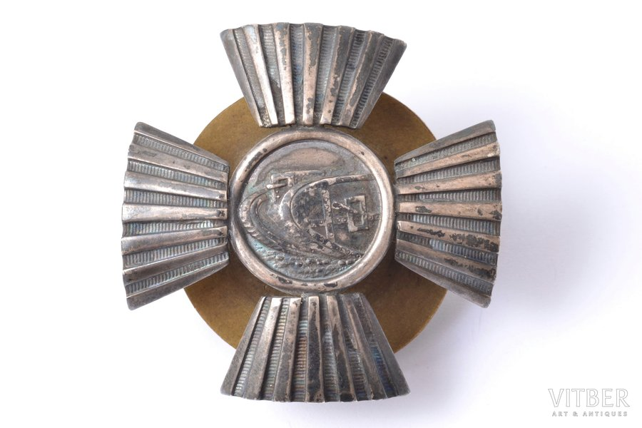 badge, Auto-tank Division (2nd type), silver, Latvia, 20ies of 20th cent., 45.5 x 45.6 mm