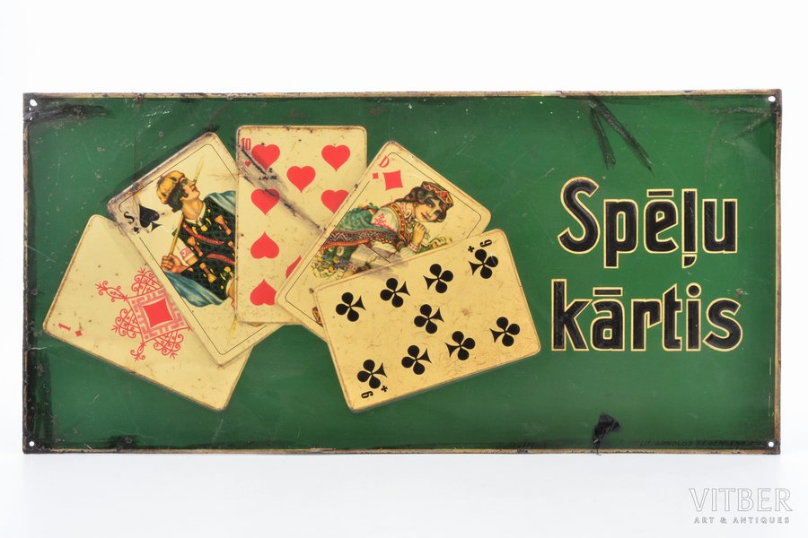 "signboard, ""Playing cards"", metal, Latvia, the 20-30ties of 20th cent., 16.8 x 35 cm"
