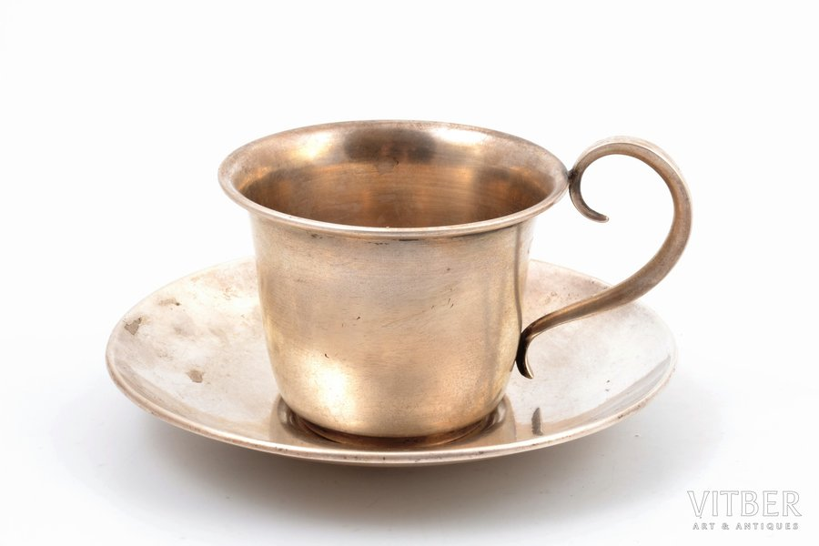 tea pair, silver, 875 standart, the 20-30ties of 20th cent., 96.35 g, Latvia, h (cup with handle) 6 cm, Ø (saucer) 11.2 cm, maker's marks SL and RG