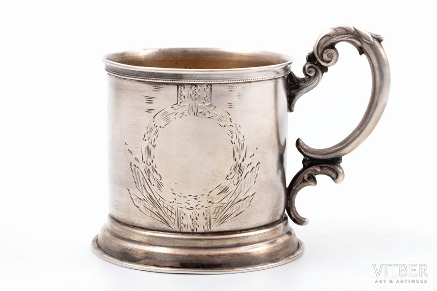 tea glass-holder, silver, 875 standart, engraving, the 30ties of 20th cent., 88.10 g, by Ludwig Rozentahl, Latvia, h (with handle) 8 cm, Ø (inside) 6.4 cm