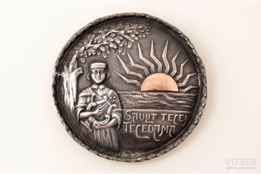 "sakta, ""Saulīt tecēj tecēdama"", with gold detail, silver, 875 standart, 16.45 g., the item's dimensions Ø 7 cm, the 20ties of 20th cent., Latvia, defect"