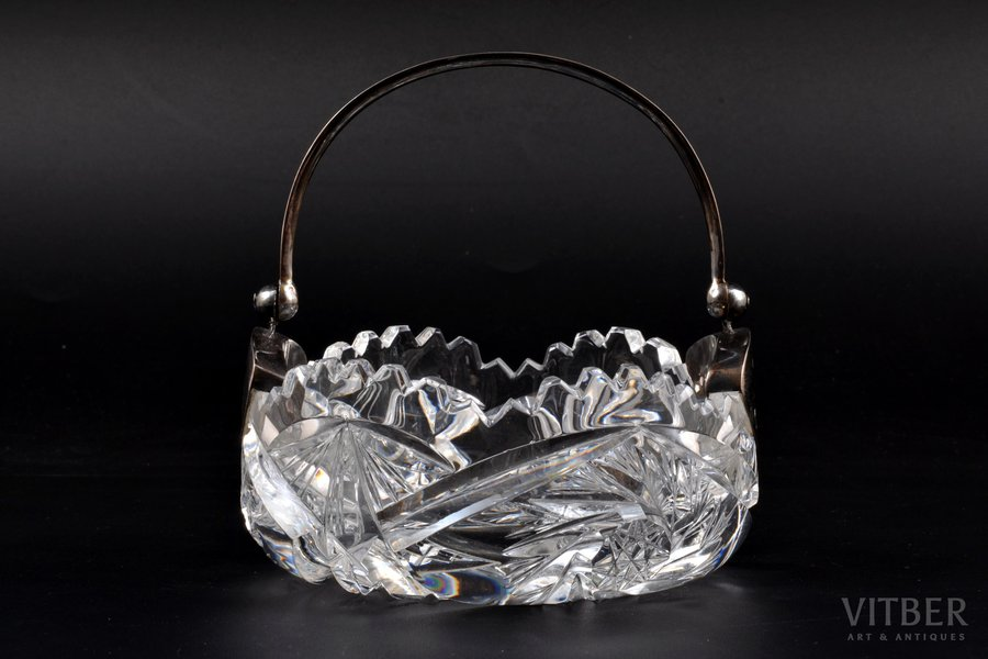 candy-bowl, silver, 875 standart, crystal, the 20-30ties of 20th cent., Latvia, Ø 11.3 cm, h (with handle) 12.5 cm