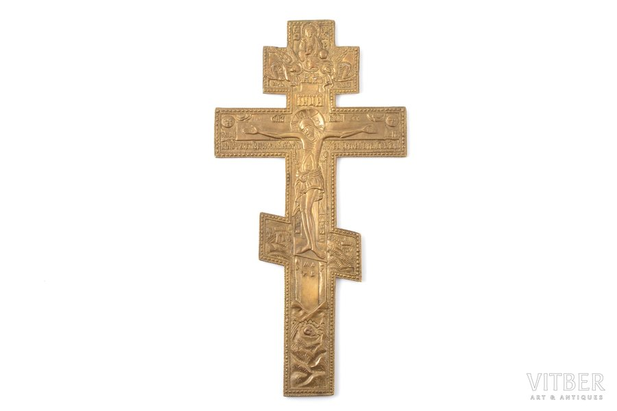 cross, The Crucifixion of Christ, copper alloy, Russia, the border of the 19th and the 20th centuries, 27.5 x 14.1 x 0.45 cm, 410.70 g.