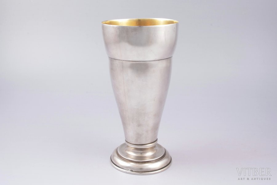 cup, silver, 875 standart, gilding, the 50ies of 20th cent., 399.55 g, Riga Jewelry Factory, Riga, Latvia, USSR, h 18.2 cm