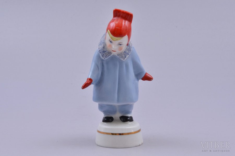 figurine, A girl wearing coat (Winter), porcelain, Riga (Latvia), USSR, Riga porcelain factory, molder - Rimma Pancehovskaya, the 60ies of 20th cent., 9.7 cm, top grade