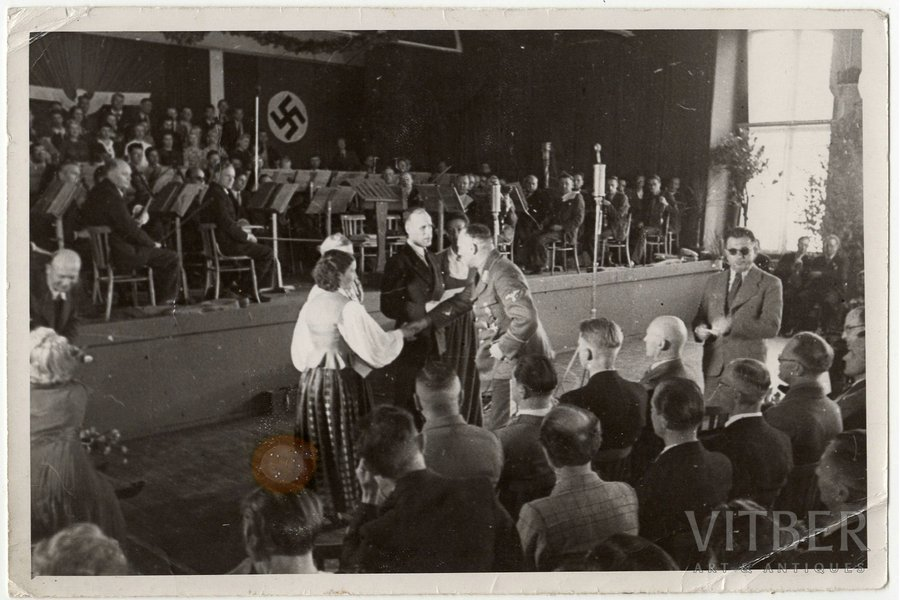 photography, Otto Heinrich Drechsler, General Commissioner of the Reichskommissariat Ostland (standing up in uniform and and shaking hands). In the first row with a shaved head - Director General of the Interior Oscar Danker. July 4th, 1943, 2nd Latgale Song Festival in Daugavpils, Latvia, 1943, 11.7 x 17.6 cm