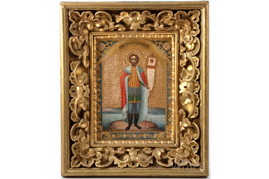 icon, Saint Alexander Nevsky, board, painting on gold, Russia, 17.9 x 13.5 x 1.8 cm, size with frame 28.5 x 24.2 cm