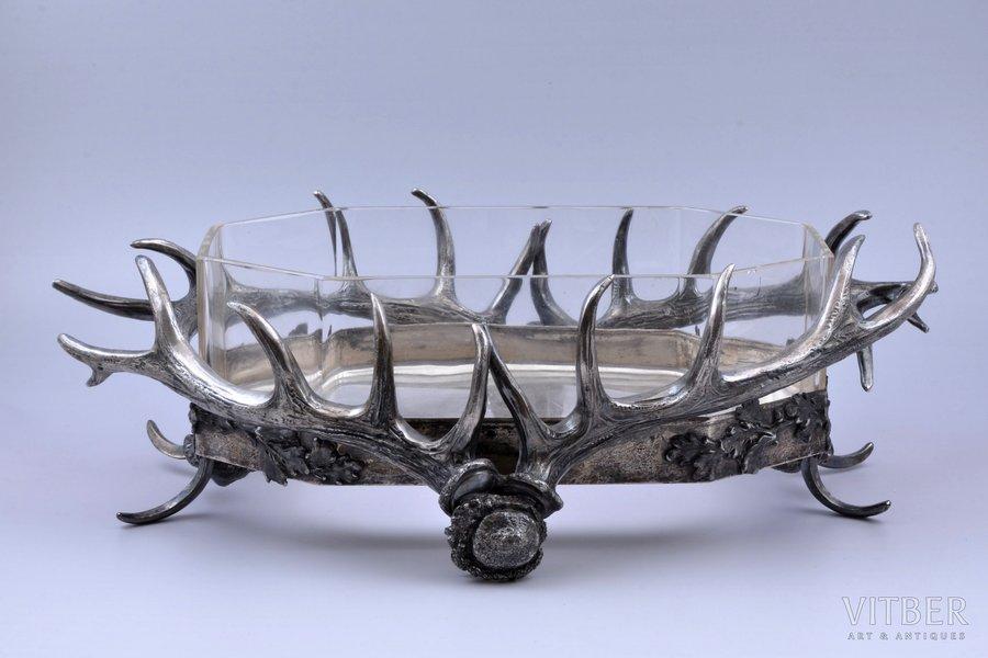 roast dish, hunting theme, silver plated, glass, 13 x 43.5 x 27 cm