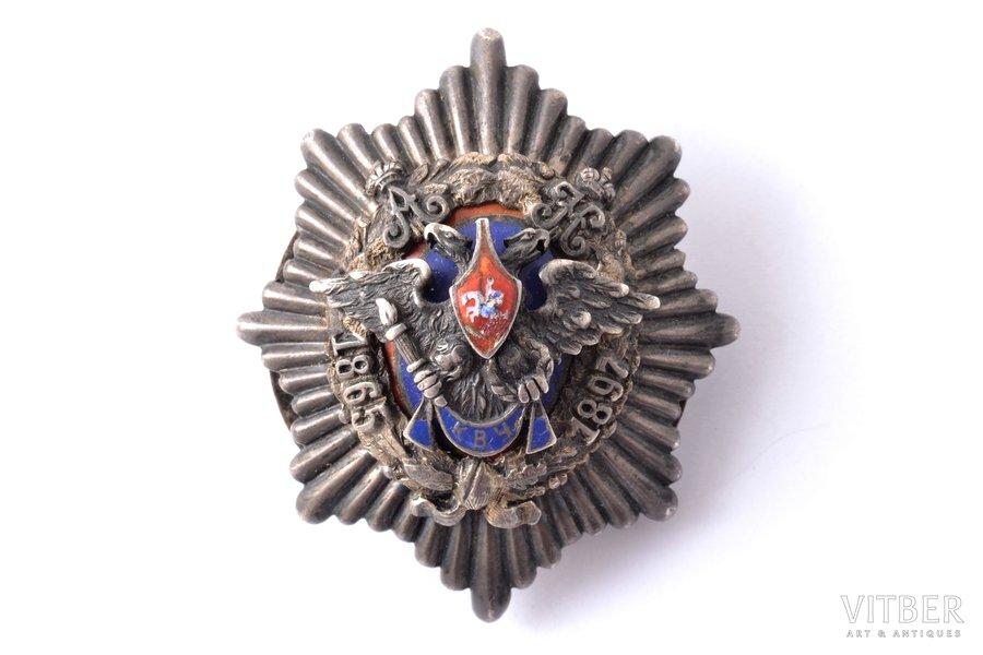 badge, Kiev War School Graduation (crown missing), silver, enamel, Russia, 48.2 x 40.8 mm