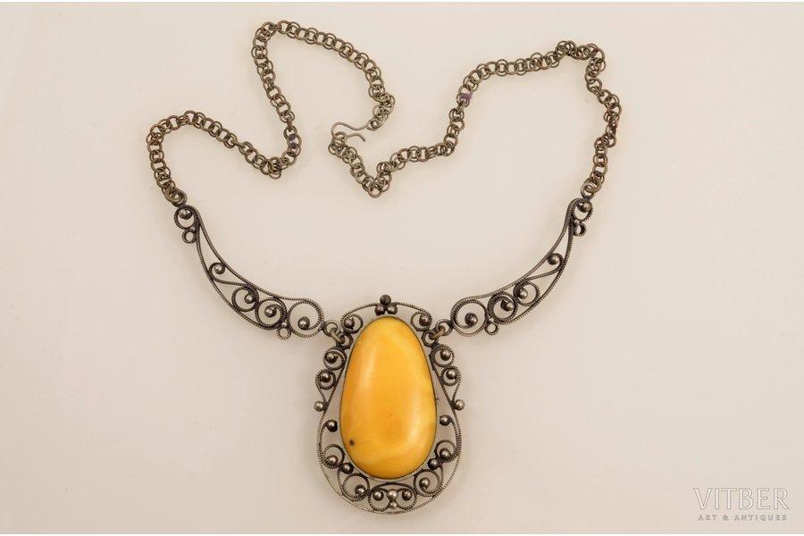a pendant, amber, necklace length 43.5 cm, amber size 3.9 x 2.3 cm