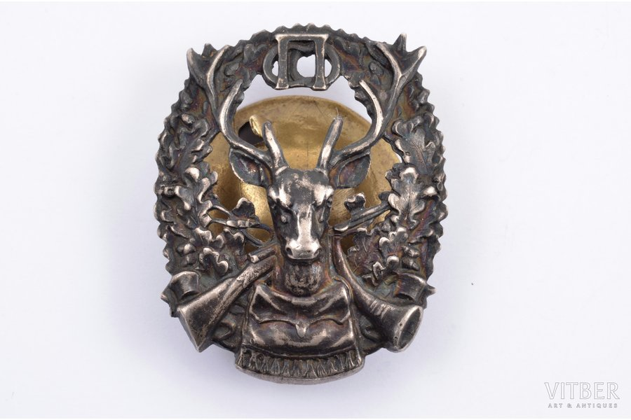 badge, St. Petersburg Society of Correct Hunting, bronze, silver plate, Russia, 48.6 x 39.5 mm