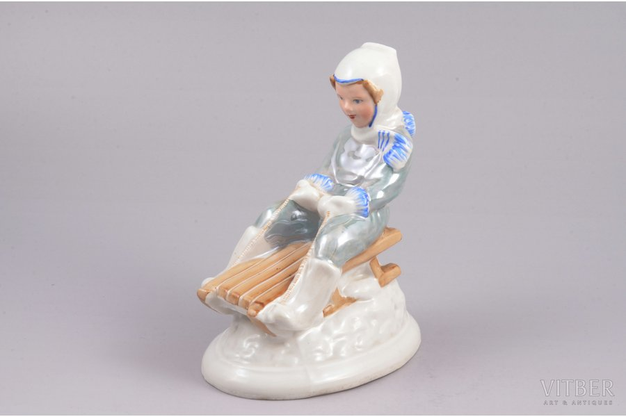 figurine, Down the hill, porcelain, Riga (Latvia), USSR, Riga porcelain factory, molder - Zina Ulste, the 50-60ies of 20th cent., 12.2 cm, first grade