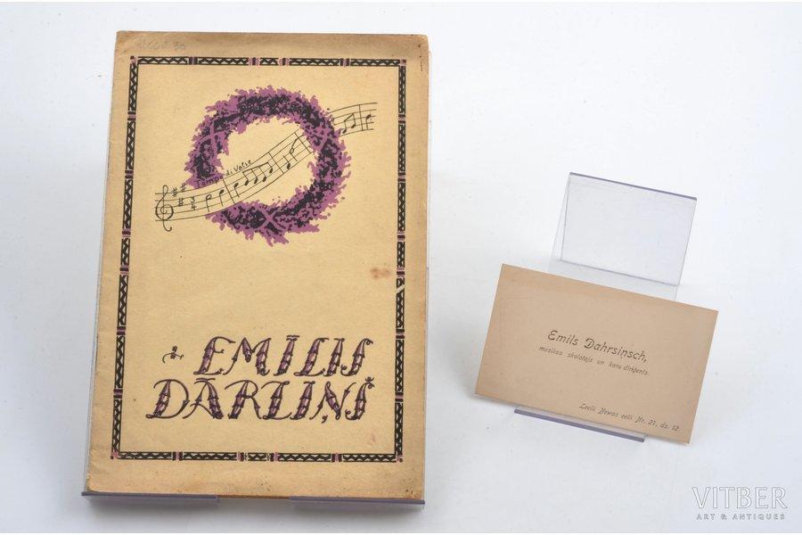"""Emīls Dārziņš, """"Emīļa Dārziņa 20 gadu aizmūža piemiņai"""", komplektā ar E. Dārziņa vizītkarti, edited by Romāns Šmits, 1930, """"Ausmas"""" izdevums, Riga, 29 pages, 22х15 cm"""