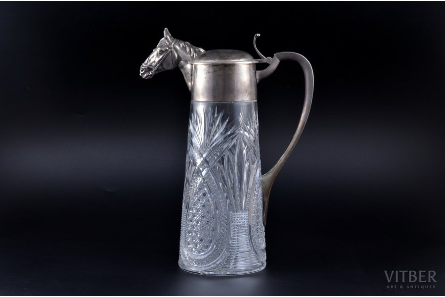 jug, silver, 84 standart, gilding, crystal, 1898-1904, by Alexander Lyubavin, St. Petersburg, Russia, h 30 cm