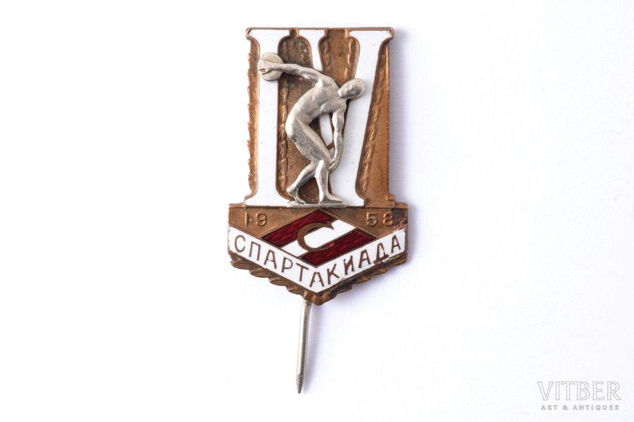 """badge, 4th All-Union Spartakiad of """"Spartak"""", brass, enamel, USSR, 1958, 35.5 x 23.2 mm"""