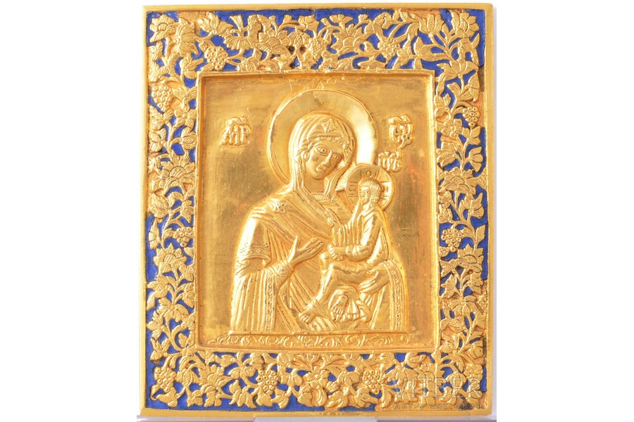 icon, Tikhvin icon of the Mother of God, copper alloy, 1-color enamel, Russia, the end of the 19th century, 10.9 x 9.4 x 0.4 cm, 286.75 g.