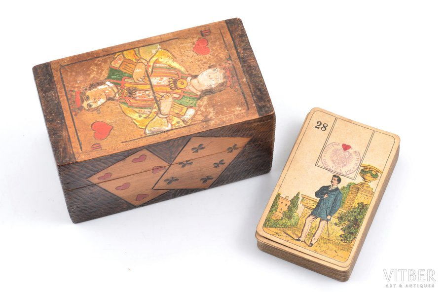 set of playing cards, 35 cards (1 card is missing), Germany, in a wooden box, box size 6.4 x 11.1 x 6.1 cm