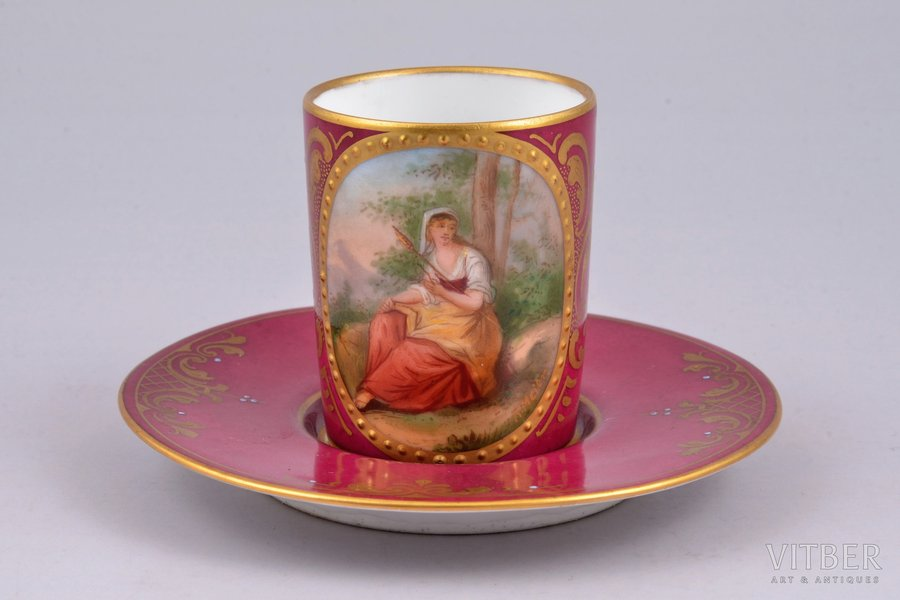 coffee steam, porcelain, hand-painted, Austria, h (cup) 5.3 cm, Ø (saucer) 10 cm