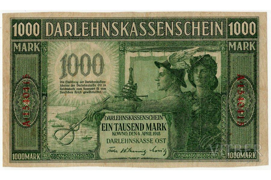 1000 markas, banknote, Ost, Kowno, 1918 g., Latvija, Lietuva, XF