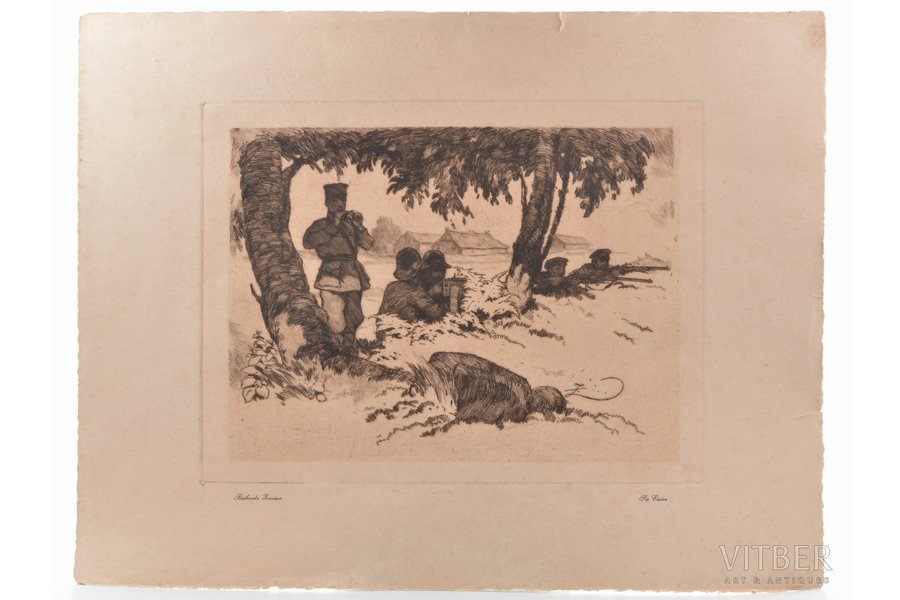 """Zarinsh Rihard K.V. (1869-1939), """"Near Cēsis"""" (from the Freedom Fights folder), the 20-30ties of 20th cent., paper, lithograph, 21.3 x 28.6 cm, paper size 36.5 x 47.5 cm"""