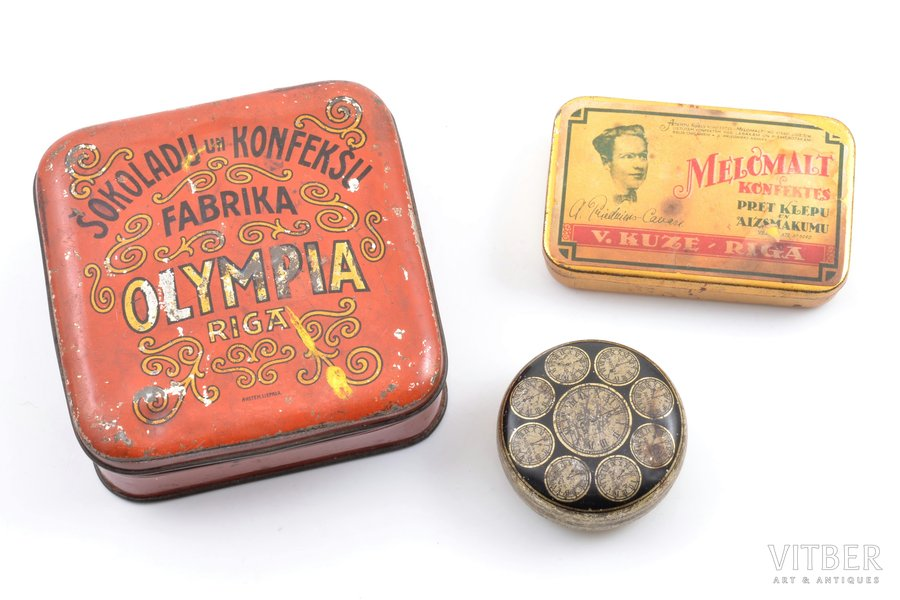 """set of 3 candy boxes, """"Olympia"""", """"Laima"""", """"Ķuze"""", Riga, metal, Latvia, the 30ties of 20th cent."""