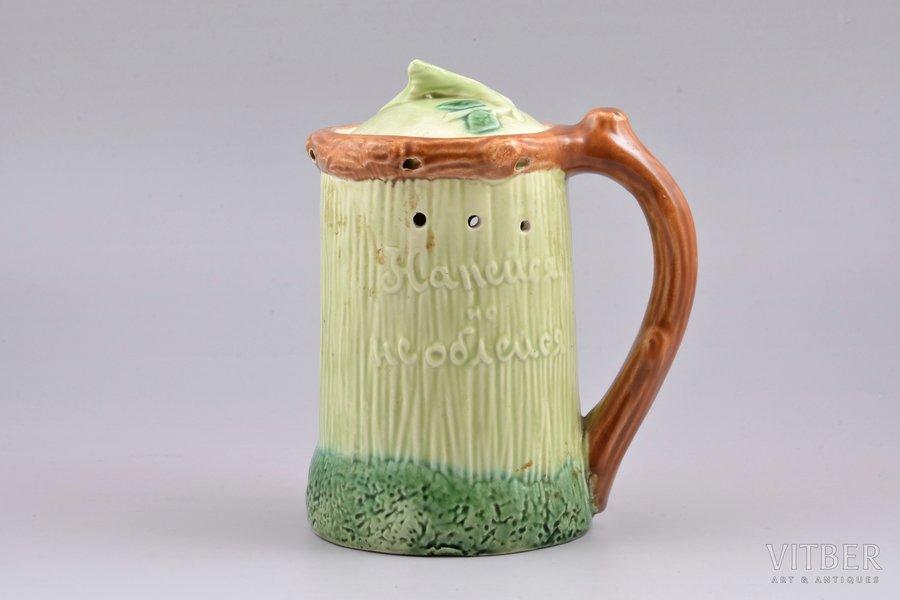 """joke mug, """"Get drunk but don't get wet"""", faience, Konakov fayance factory, USSR, 1957, h 16.4 cm, second grade"""
