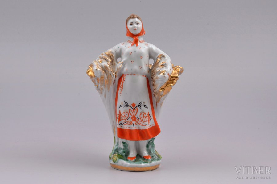 "figurine, pencil tray, ""Girl with Sheaf"", USSR, LFZ - Lomonosov porcelain factory, molder - S.B. Velihova, h 16.1 cm, second grade"